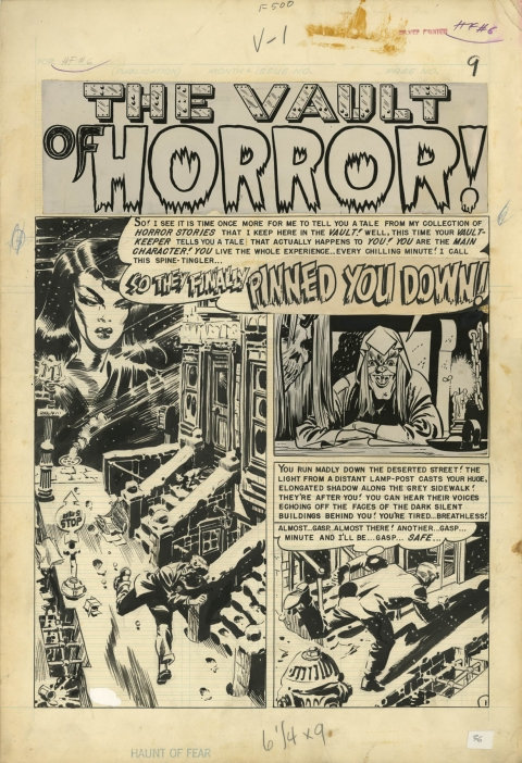 Haunt Of Fear issue 6 page 1 by Wally Wood.  Source.