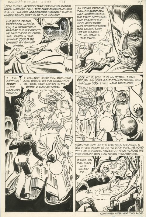 Haunted issue 30 page 2 by Steve Ditko.  Source.