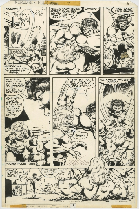 Incredible Hulk Annual 7 page 6 by John Byrne and Bob Layton.  Source.