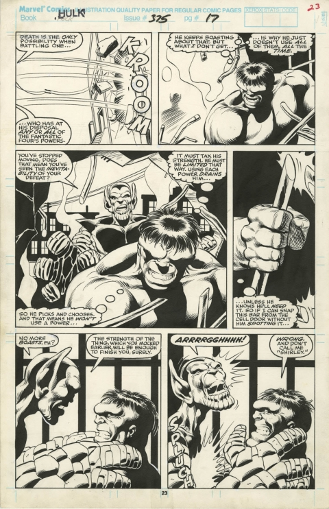 Incredible Hulk issue 375 page 23 by Dale Keown and Bob McLeod.  Source.