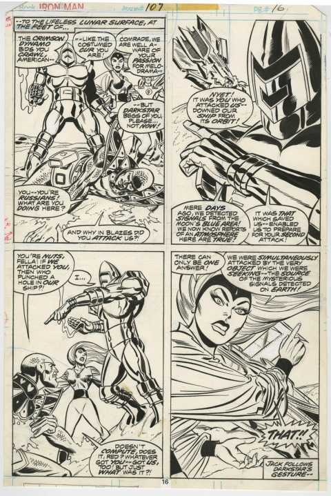 Iron Man issue 109 page 16 by Carmine Infantino and Fred Kida.  Source.