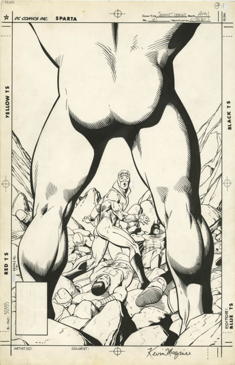 Justice League issue 4 cover by Kevin Maguire and Al Gordon.  Source.