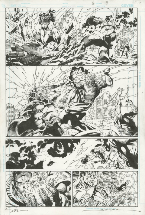 Justice League issue 6 page 9 by Jim Lee and Scott Williams.  Source.