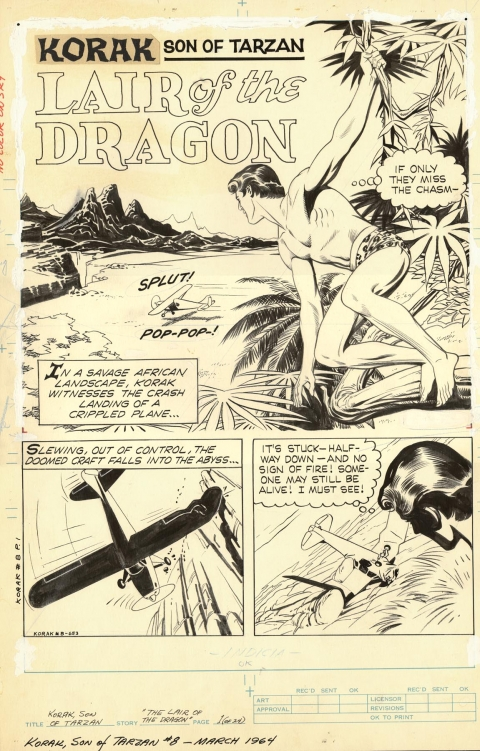 Korak Son Of Tarzan issue 8 page 1 by Russ Manning.  Source.