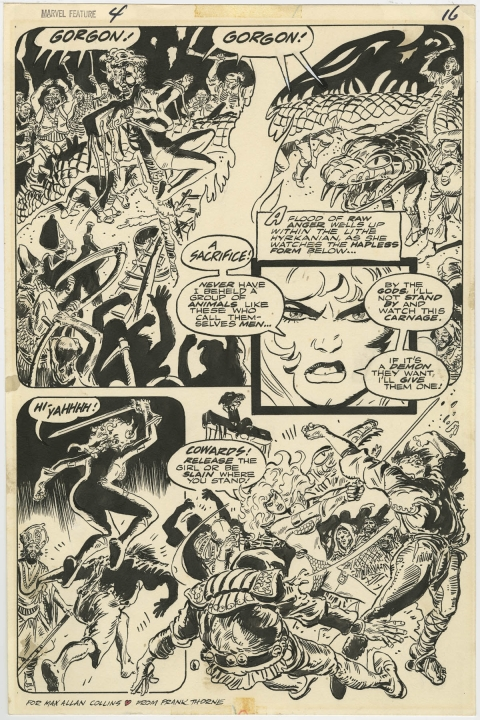 Marvel Feature issue 4 page 16 by Frank Thorne.  Source.