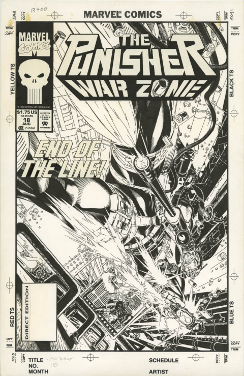 Punisher War Zone issue 18 cover by Michael Golden.  Source.