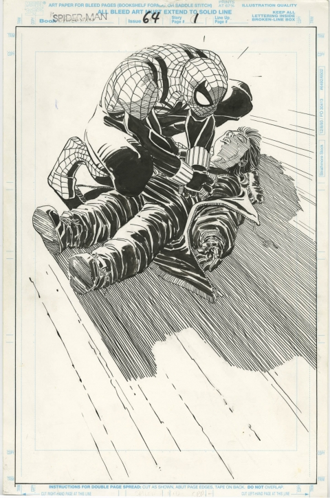Spider-Man issue 64 splash by John Romita Jr and Al Williamson. Source.