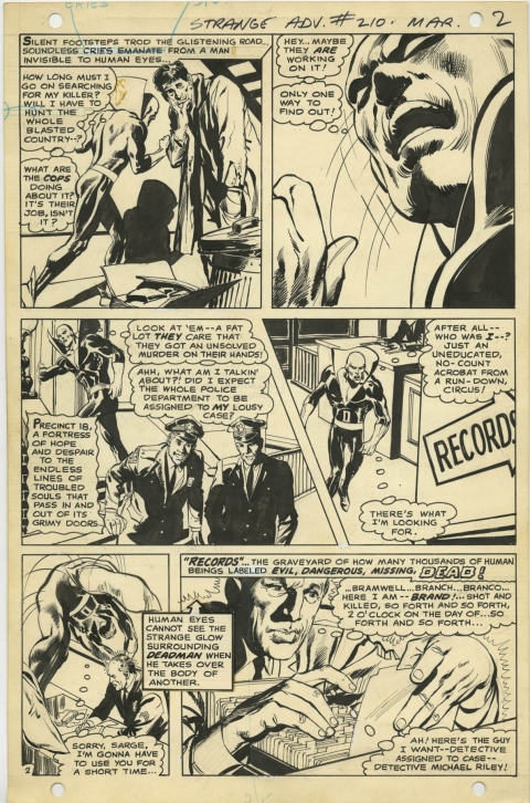 Strange Adventures issue 210 page 2 by Neal Adams.  Source.