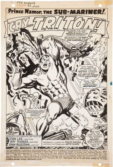 Sub-Mariner issue 2 splash by John Buscema and Frank Giacoia. Source.