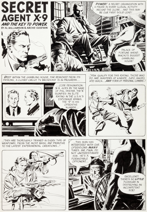 Flash Gordon issue 4 Secret Agent X-9 page 1 by Al Williamson. Source.