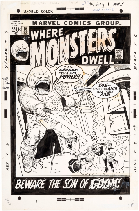 Where Monsters Dwell issue 16 cover by Gil Kane and Vince Colletta.  Source.