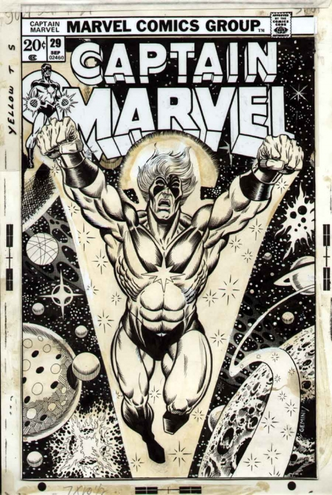 Captain Marvel issue 29 cover by Jim Starlin. Source.