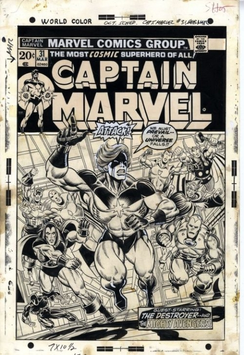 Captain Marvel issue 31 cover by Jim Starlin and Al Milgrom. Source.