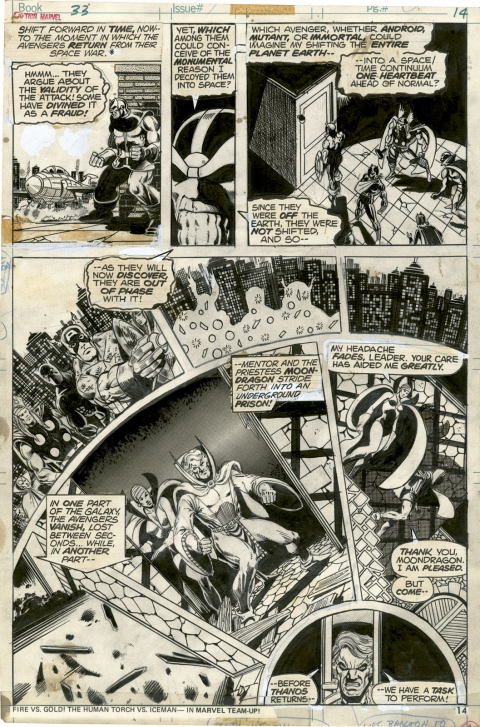 Captain Marvel issue 33 page by Jim Starlin and Klaus Janson. Source.